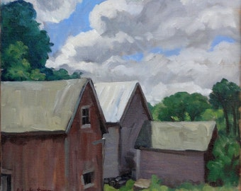 Berkshire Barns, Williamstown. Realist Oil Painting on Canvas, 11x14 American Impressionist Plein Air Landscape, Signed Original Fine Art