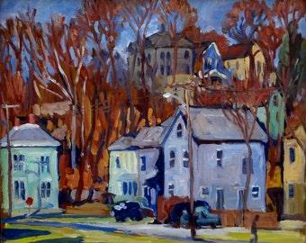 Autumn Houses, North Adams, Massachusetts. Berkshires Oil Painting Landscape, 10x12 Strip Framed Impressionist Fine Art, Signed Original Oil