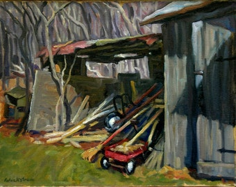 The Old Shed with Radio Flyer, 14x18 Original Oil on Canvas, Plein Air Impressionist Landscape Painting, Signed Original Realist Fine Art