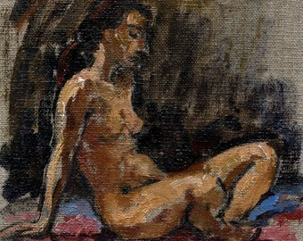Falling Light, Seated Female Nude. 9x6 inch Figure Painting, Signed Original Oil Classic Figure Painting