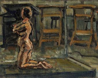 Small Oil, Night Studio with Female Nude. Figure Painting, Original Oil on Canvas, 6x9 Fine Art, Signed Original Impressionist Study