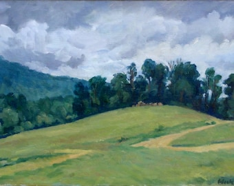 Berkshires, Rainy Day. Signed Original Oil on Canvas, 12x20 American Impressionist Landscape Painting, Strip Framed Berkshires Fine Art