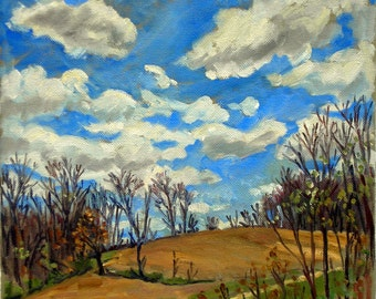 Hillside in April, Berkshires Spring Sky. 10x10 Oil on Canvas, American Impressionist Landscape Painting, Signed Original Fine Art