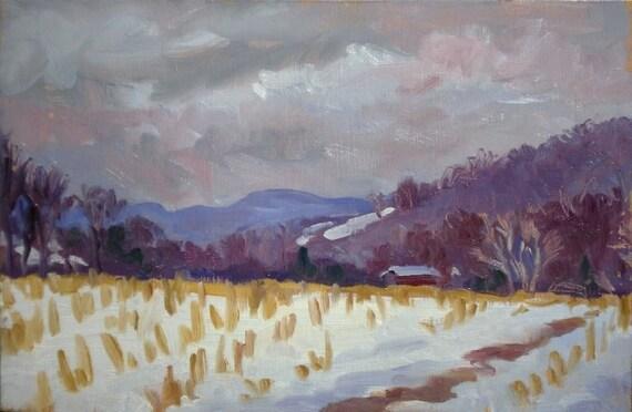 Light Snow, Berkshires. Framed Original Oil Impressionist Landscape, Sale