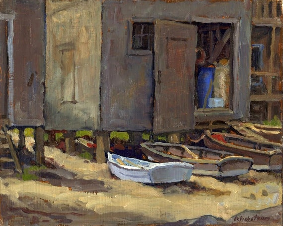 Oil Painting Landscape, Dories, Monhegan. Original Framed Plein Air Impressionist Seascape