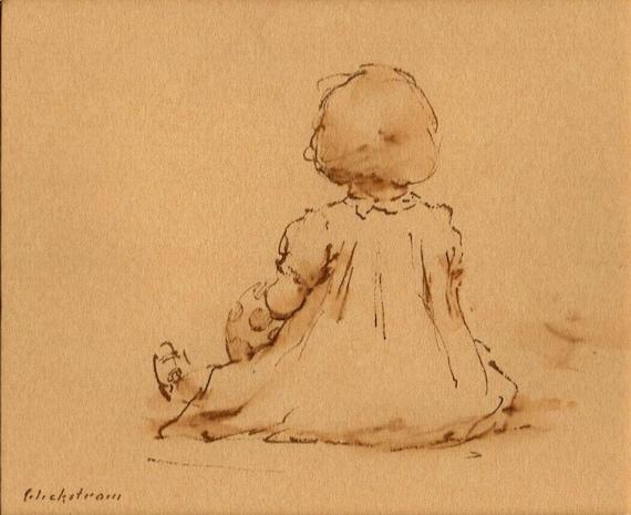 Petite Fille Original Sepia Ink Drawing In A 7x9 Mat