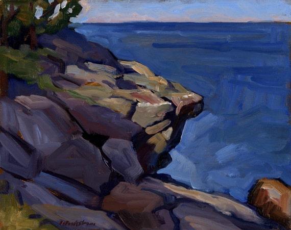 Boar's Head, Original Framed Oil 8x10 Impressionist Seascape Painting