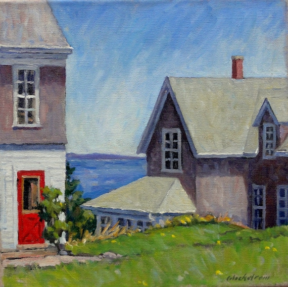 The Bogdanov House, Monhegan Maine. Original Oil Painting, 12x12 Impressionist Landscape, Signed Original