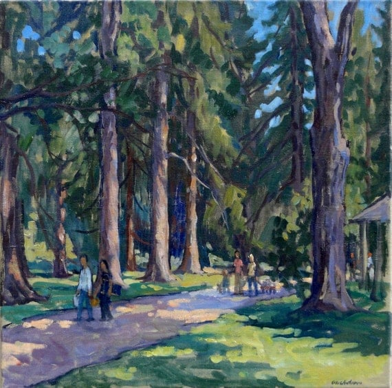 Oil Painting Landscape, Tanglewood / Before the Concert. Original Oil on Canvas, Landscape Painting
