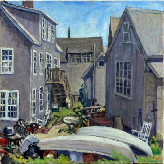 Backyard with Boats, Monhegan, Maine. 20x20 Oil Painting Seascape, Realist Oil on Canvas, Impressionist Landscape, Signed Original Fine Art