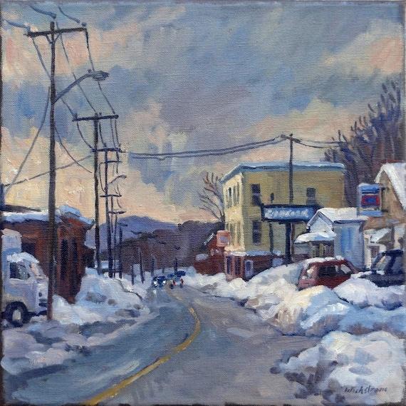 Goodyear. Original Oil on Canvas, 12x12 American Urban Winter Landscape