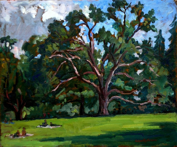 Oil Painting Landscape, Tanglewood Saturday. Small Original Oil on Canvas, Impressionist Sketch