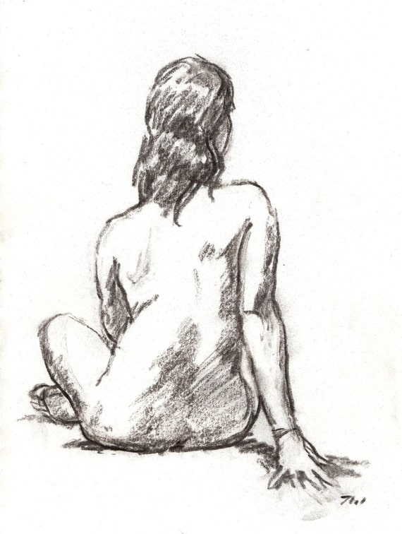 Seated Female Nude, Original 8x10 Charcoal Drawing, Classic Figure Study