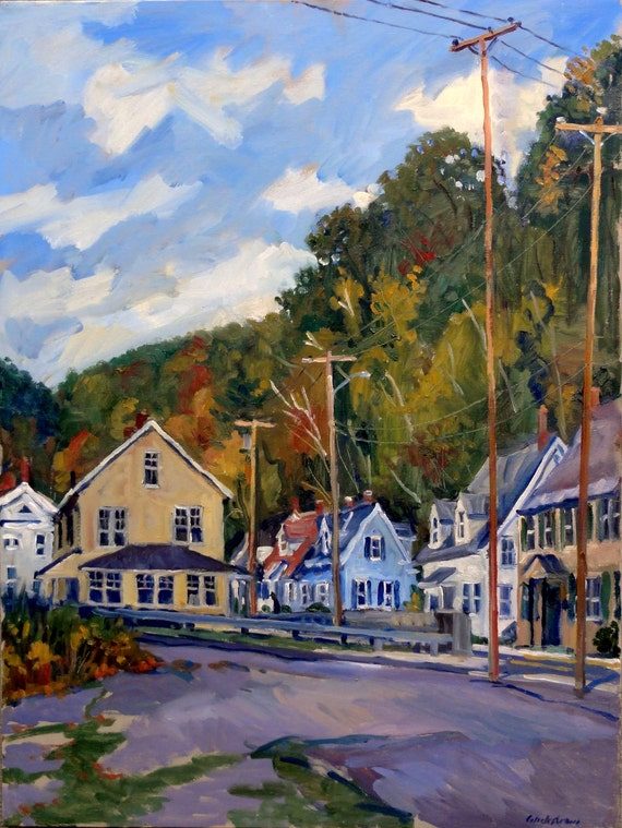 Mill Houses in Autumn, North Adams. Impressionist Landscape Painting, 26x20 Oil on Canvas, Urban Realist Fine Art, Signed Original