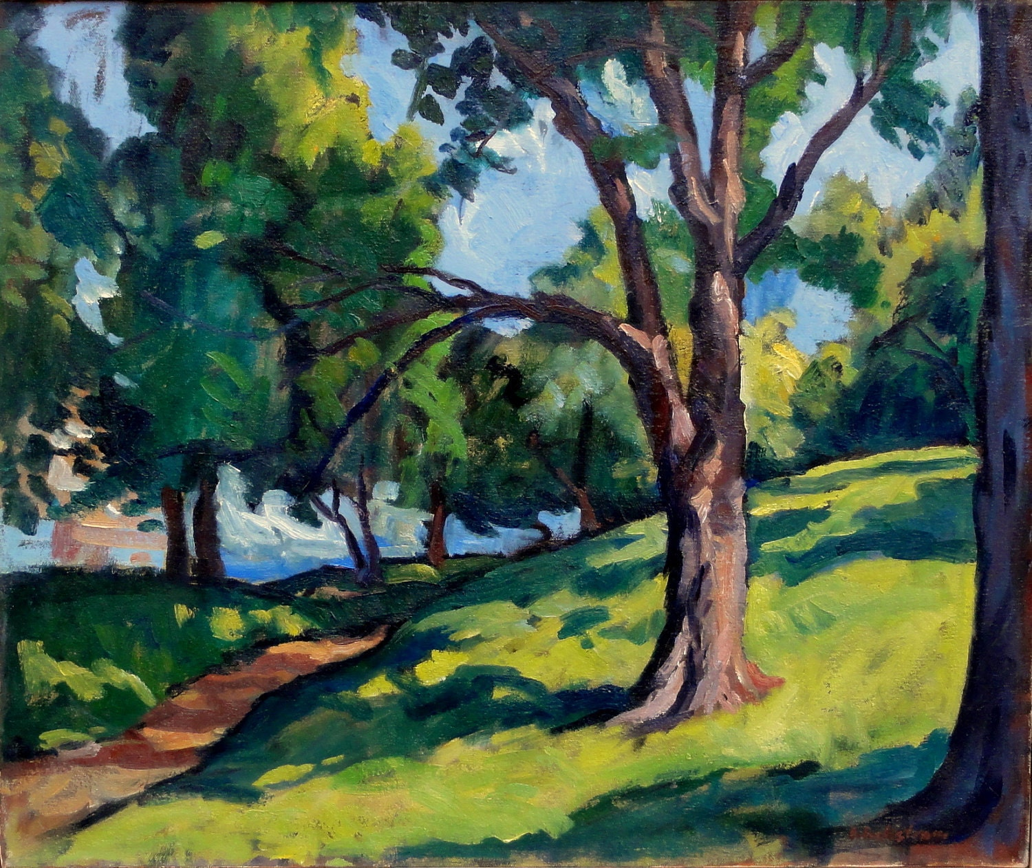 Oil Painting Landscape Summer Shade Large Original Oil On