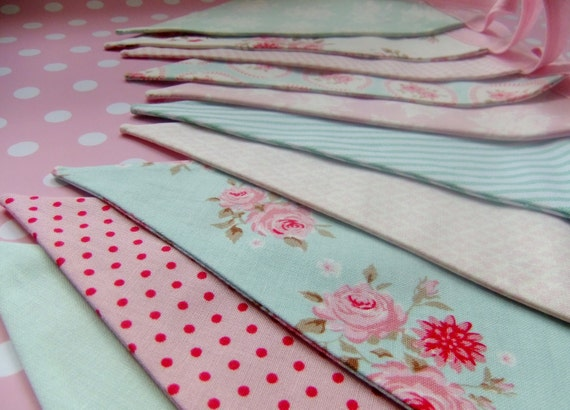 Oh So Pretty Party Bunting - TILDA in Aqua and Pink - 9 Feet PLUS ties, 10 Flags, perfect for Summer Weddings, Baby Showers and Parties