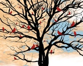 Lucky Red Tree at Sunrise / Signed Art Print / 8 x 10 - landscape