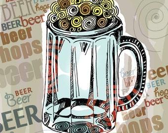 I Love Your Hops  / Beer / original illustration ART Print SIGNED /  8 x 10