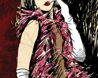 Waiting Roaring 1920s Diva with Fishnet Stockings Fashion Hand Signed Art Print size 8 x 10