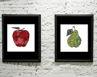 Swirly Pear and Apple Combo SET / 2 square 8x8 Prints / Kitchen duo prints