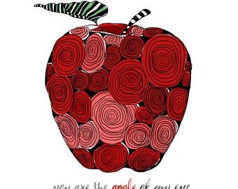 Swirly Apple Signed Print / square 8x8 Print / Kitchen Decor