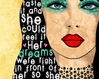 She Reached for Her Dreams / original illustration ART Print Hand SIGNED size 8 x 10