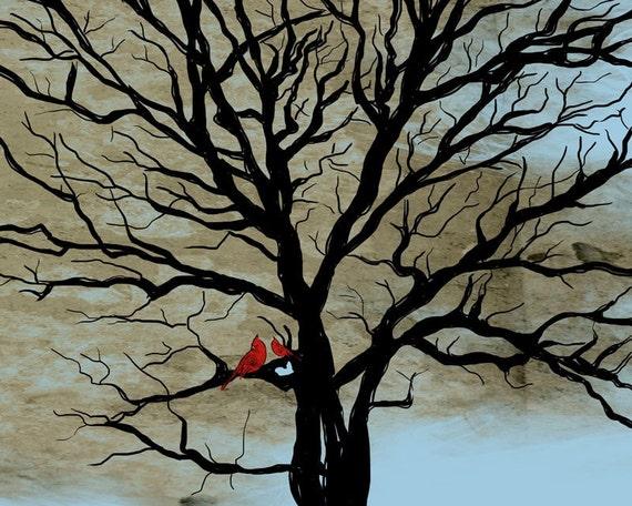 Lucky Red Tree at Dusk - Part 2 / original illustration ART Print SIGNED / 8 x 10 - landscape