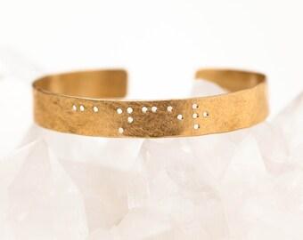 CANCER : Zodiac Braille Engraved Cuff Brass