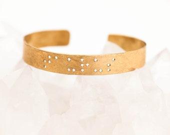 TAURUS : Zodiac Braille Engraved Cuff Brass