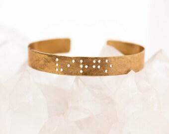 FAITH : Braille Engraved Cuff Brass