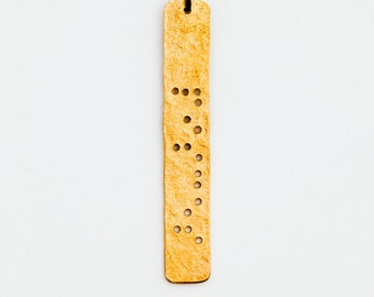 "PISCES : Zodiac Braille Necklace in Brass - 30"" shiny brass chain"