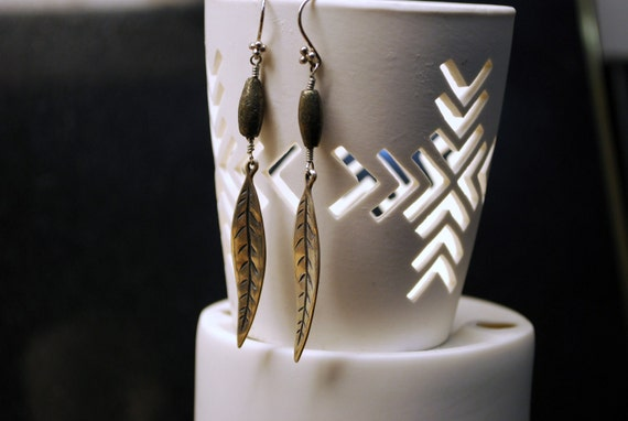 TWINING TRAILS : Silver Leaf and Pyrite Earrings