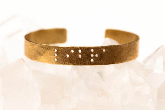 LIBRA : Zodiac Braille Engraved Cuff Brass
