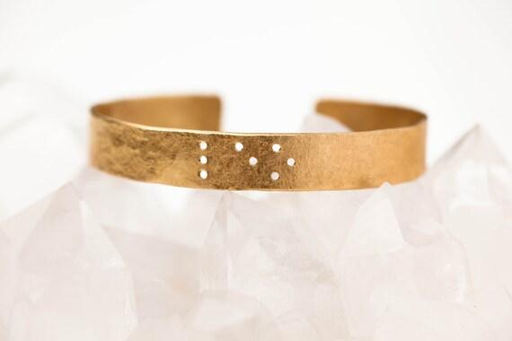 LEO : Zodiac Braille Engraved Cuff Brass