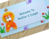 Door Sign - Blue LION - personalized childrens / entrance Wooden door sign, polymer clay welcome door sign for home