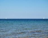Photography Print - Twin Sailboats on the Lake Michigan Leelanau Peninsula Shore