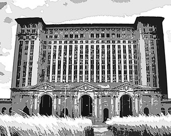 Train Station Photo Archival Print of Detroit Michigan Central Train Station