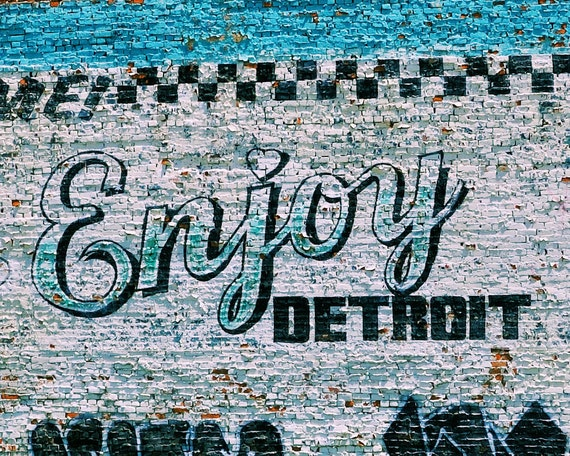 Enjoy detroit mural large photography print by for Enjoy detroit mural