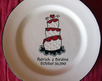WEDDING GUEST BOOK custom - Guest book plate - wedding signature plate - funky cake
