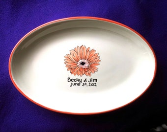 Wedding Guest Book Alternative Wedding Signature plate to sign guest book plate Plate Gerber Daisy