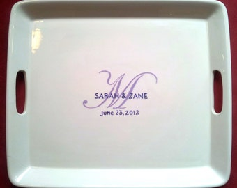 WEDDING GUEST BOOK Alternative - Unique Guest Book - Wedding Signature Platter  Monogram