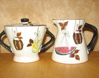 Vintage Italian Creamer and Sugar Bowl - 9088