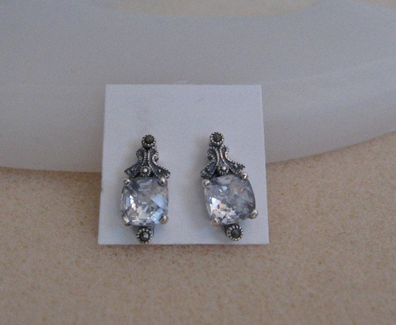 Sterling Silver Cubic Zirconia and Marcasite Earrings