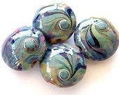 Bindu - 4 Lentil Lampwork beads / pendants in shades of blue, green and purple