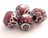 BINDU- 4 Round Lampwork bead / pendant in purple