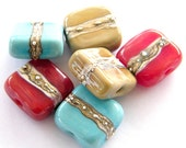 Bindu - 6 square Lampwork beads / pendants