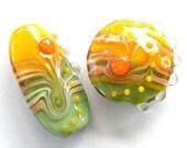 BINDU- Sunflower focal Lampwork bead / pendant in yellow and green (2)