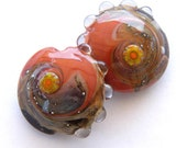 Handmade lampwork glass beads - Organic Lentil Lampwork beads / pendants for earring design (2)