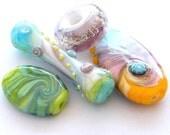 Handmade lampwork beads sale - Orphans SALE- 4 Lampwork beads / pendants