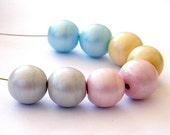 pastel lampwork beads - 8 shining Handmade Lampwork bead / pendant - made to order